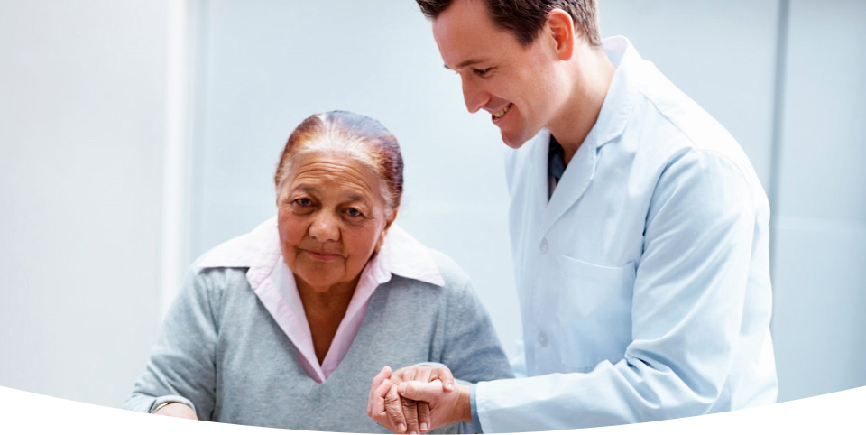 a caregiver and an elderly woman